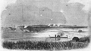Battle of Fort McAllister (1864) - Image: USS Montauk 8harpers 1863