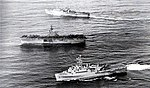 USS New Orleans (LPH-11), USS Ogden (LPD-5) and USS Dubuque (LPD-8) leave Subic Bay in 1973.jpg