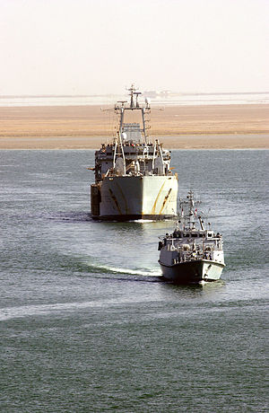 Umm Qasr Port - The Royal Fleet Auxiliary, Lananding Ship Logistic RFA ''Sir Galahad'' arrives in the port on 28 March 2003, delivering the first shipment of humanitarian aid from coalition forces