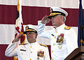 US Navy 030813-N-1407C-003 Rear Adm. Stephen A. Turrcotte and Rear Adm. David Architzel, Commander Navy Region, Mid-Atlantic, salute the changing of their flags during the Change of Command ceremony.jpg