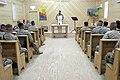 US Navy 051211-M-7772K-047 Second Marine Division Chaplain, U.S. Navy Capt. Bryan J. Weaver, speaks during a church service at Regimental Combat Team 2's Chapel at Camp Ripper in Al Asad, Iraq.jpg