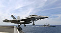 US Navy 070403-N-5345W-152 An F-A-18F Super Hornet from the Swordsmen of Strike Fighter Squadron (VFA) 32 launches from the Nimitz-class aircraft carrier USS Harry S. Truman (CVN 75).jpg
