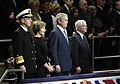 US Navy 090106-N-2855B-510 Adm. Mike Mullen first lady Mrs. Laura Bush, President George W. Bush and Secretary of Defense Robert M. Gates listen as the national anthem is sung during the Armed Forces Farewell Tribute Ceremony h.jpg