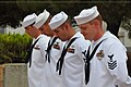 US Navy 090911-N-1825E-010 Chief petty officer selects assigned to Naval Station Rota stand in prayer during a flag retirement ceremony.jpg