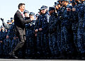US Navy 101108-N-6632S-061 Jay Crawford, left, one of the hosts of the ESPN2 television show, ESPN First Take, cheers with Sailors assigned to the.jpg