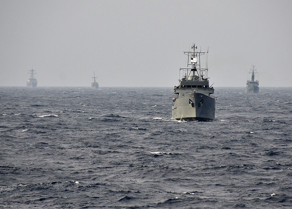 US Navy 110922-N-RI844-021 Bangladesh navy and U.S. Navy ships participate in a surface gunnery exercise during Cooperation Afloat Readiness and Tr