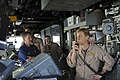 US Navy 111003-N-YM590-026 Rear Adm. Nora Tyson, commander of Carrier Strike Group (CSG) 2, right, addresses the crew of the guided-missile cruiser.jpg