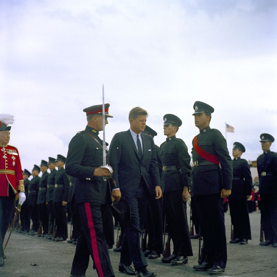 US President JF Kennedy inspects Bermuda Rifles 1961