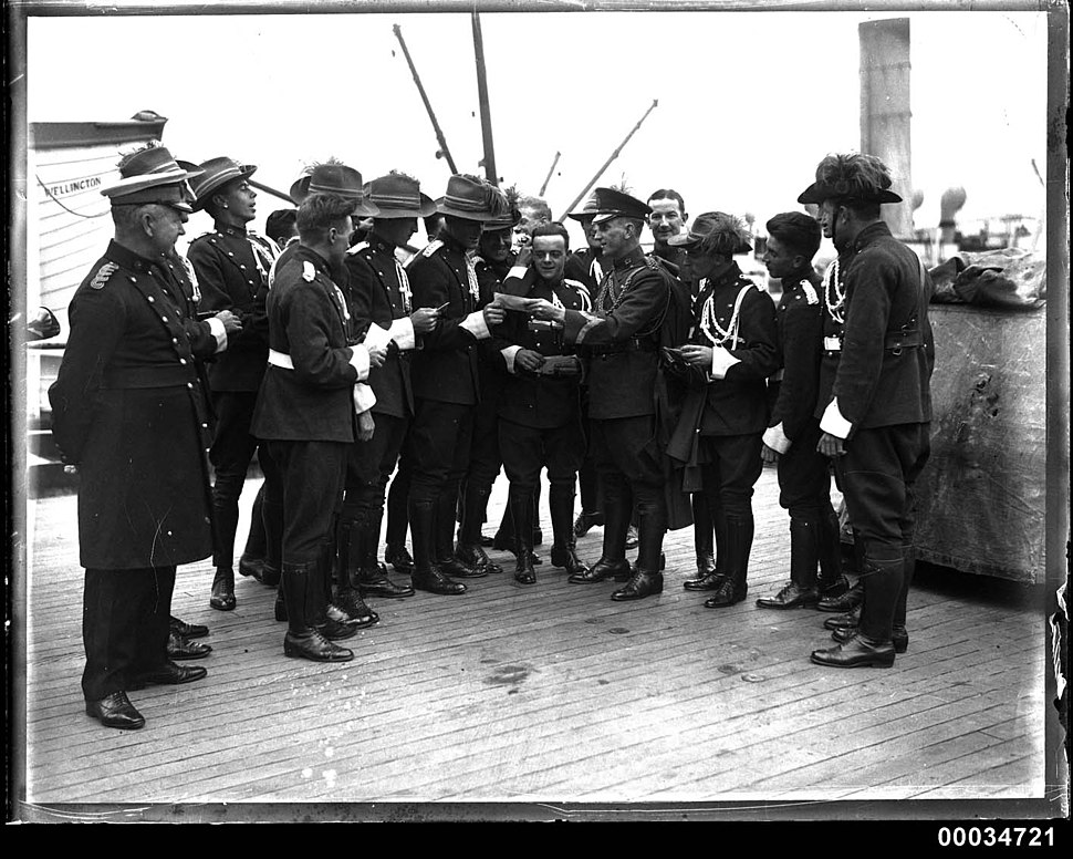 Uniformed men possibly from a military band on board the ship WELLINGTON, 1920-1935 (8159579262)