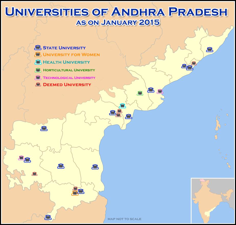 Universities Map of Andhra Pradesh