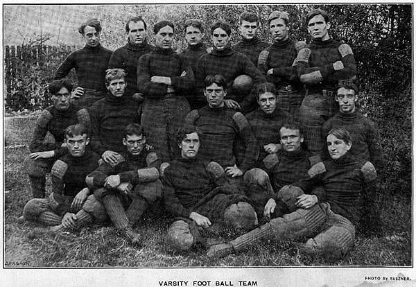 The 1900 team, competing when the university was still known as WUP, went 5-4 shutting out opponents four times under head coach Dr. M. Roy Jackson University of Pittsburgh football team (1900).jpg