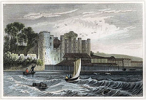 Upnor Castle - View of Upnor Castle from the Medway in 1845