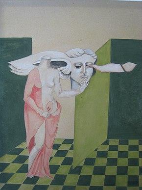 Ursula Stock, Donna senza testa afferra per le labbra Hypnos, il dio del sonno, 1974