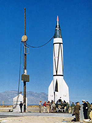 V-2 sounding rocket - A V-2 sounding rocket at White Sands Missile Range in 1946.