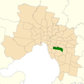 Electoral district of Oakleigh - Location of Oakleigh (dark green) in Greater Melbourne
