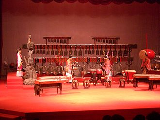 Bianzhong - Musicians performing on a modern replica of Marquis Yi's bell set in Hubei Provincial Museum