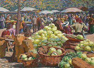 Market (economics) - Cabbage market by Václav Malý.