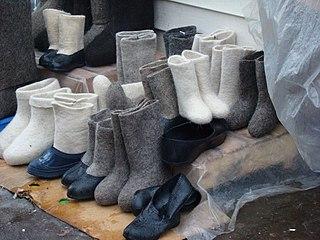 Valenki traditional Russian winter footwear of felt