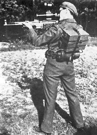 Night vision - The German 1945 pattern active infrared Zielgerät ZG 1229 Vampir displayed by a British soldier