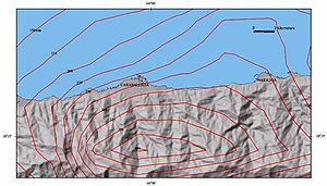 Vargas tragedy - Isohyet (contour of equal precipitation) map of the December 14–16, 1999 storm draped over a shaded relief map of north-central Venezuela