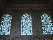 Stained-glass windows decorate the interior