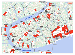 A map of the historical heart of Venice