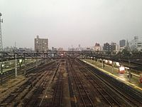 View from overpass of JR Omuta Station at dusk (North).JPG