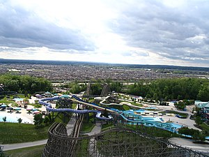 Canada's Wonderland - A view of Splash Works from atop Behemoth with Mighty Canadian Minebuster in the foreground.