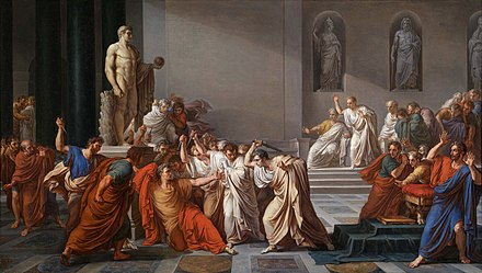 Assassination of Julius Caesar, by Vincenzo Camuccini Vincenzo Camuccini - La morte di Cesare.jpg