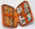 Vintage Gillette Travel Safety Razor Kit, Both Razor And Leather Case Made In England (24190085495).jpg