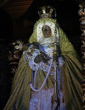 Chaxiraxi - Image of the Virgin of Candelaria (Patron of Canary Islands) in the Basilica of Candelaria (Tenerife).