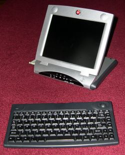 Virgin Webplayer and infrared keyboard with added CompactFlash adapter at left
