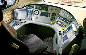 British Rail Class 390 - 390012 cab interior at Glasgow Central