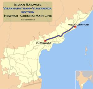 Duvvada–Vijayawada section - Duvvada - Vijayawada section map