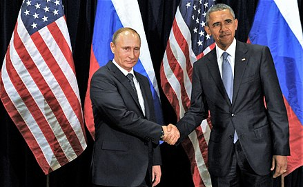 Putin meets with U.S. President Barack Obama in New York City, 29 September 2015 Vladimir Putin and Barack Obama (2015-09-29) 01.jpg