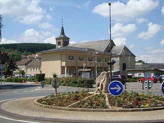 Volmerange-les-Mines - The town hall and church in Volmerange-les-Mines
