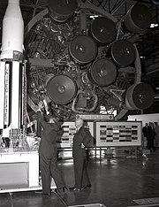 Wernher von Braun briefs President Eisenhower in front of a Saturn 1 vehicle at the Marshall Space Flight Center dedication on September 8, 1960.