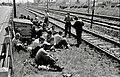 Vzdrževalci železniške proge na malici v Mostah 1965.jpg
