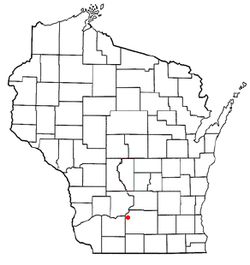 Map of Wisconsin, highlighting Mazomanie