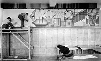 Samuel Gompers High School - WPA muralist Eric Mose at work on his fresco, Power (1936), in the library of Samuel Gompers Industrial High School for Boys