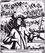 Black and white print shows a scowling man carrying a torch in each hand. The man wears a shoulder-length black wig and clothing of about 1700. In the background, a city and a farm are in flames.
