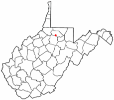 Location of Worthington, West Virginia