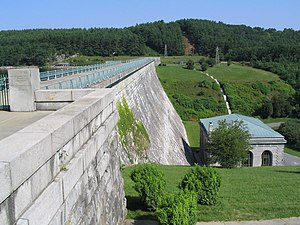 Human impact on the environment - The Wachusett Dam in Clinton, Massachusetts.