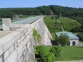 Human impact on the environment - The Wachusett Dam in Clinton, Massachusetts