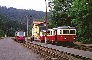 Waggonfabrik Fuchs - The Fuchs railbus 187 012, built 1955, in Eisfelder Talmühle