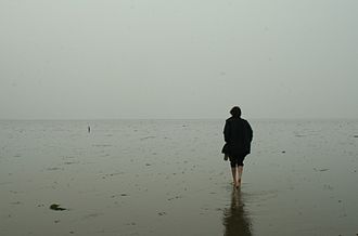 Maplin Sands - A walker on the Broomway