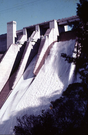 Warragamba River - Warragamba River flowing over the dam spillway, 1974