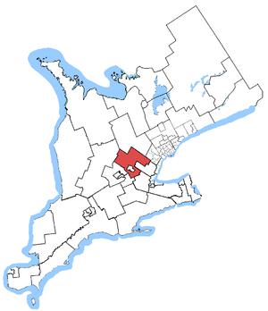 Wellington—Halton Hills (provincial electoral district) - Wellington-Halton Hills in relation to other southern Ontario ridings
