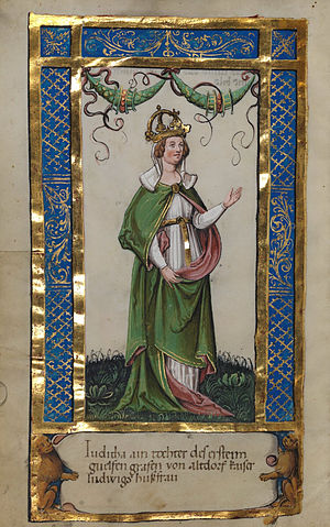 Judith of Bavaria (died 843) - Empress Judith, 2nd wife of Emperor Louis the Pious (from a c. 1510 manuscript)