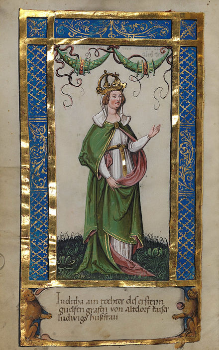 Empress Judith, 2nd wife of Emperor Louis (from a manuscript around 1510) Wgt Stifterbuchlein 11v.jpg